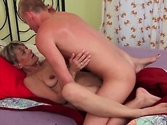 Blonde granny enjoys young shaft in missionary