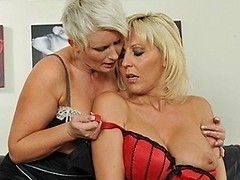 Horny mature lesbian couple in hot action