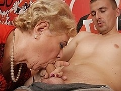 Three old and young lesbians do each other and get some cock as well