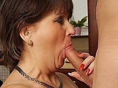 Horny mature housewife fucks and sucks her toyboy