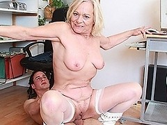 Naughty mature slut doing a younger pupil