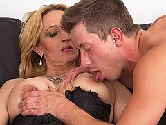Horny red housewife fucking and sucking