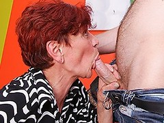 Horny mature lady seducking a toy boy for hard sex