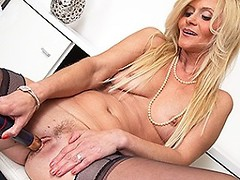 Blonde housewife squirting from her soaking pussy