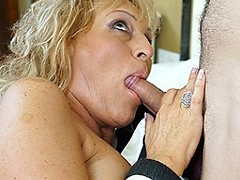 Horny blonde housewife sucking and fucking her younger lover