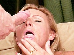 Blonde granny pleasuring younger cock