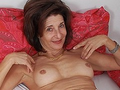 Horny housewife playing with her hairy pussy