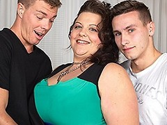 Huge breasted housewife doing two guys at once