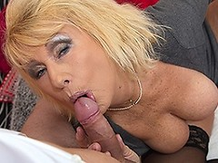 Horny mature slut sucking and fucking her toy boy