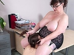 Big titted mature teacher doing a hot student babe